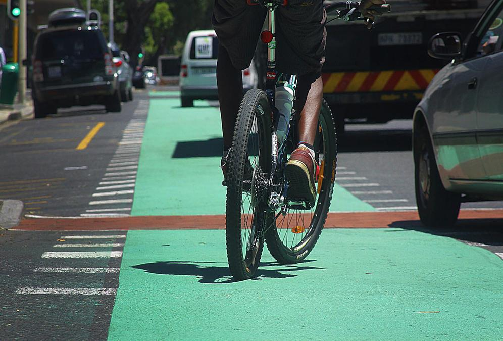 Cape Town has spent R300 million on non-motorised transport projects, including the cycle lanes which have been painted green with skid-resistant paint. Picture: Thomas Holder/Independent Media.